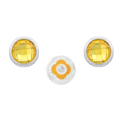 Yellow Quatrefoil Dot Set