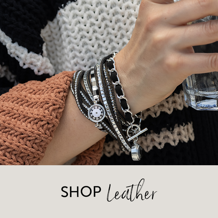 Leather bracelets with silver dots