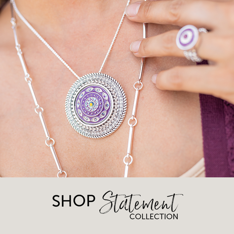 Necklace featuring purple statement dot